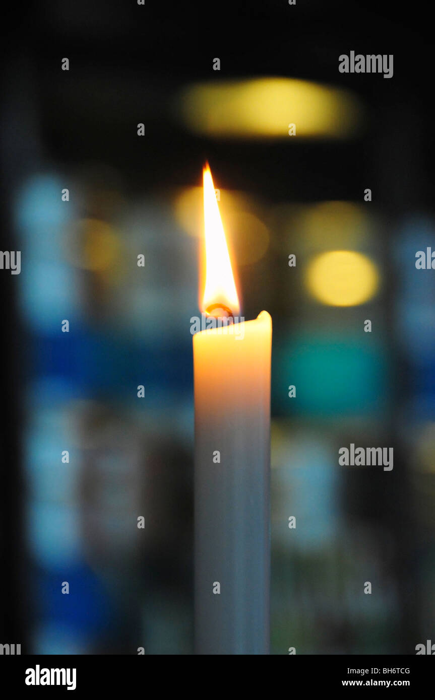 Candle at night - Stock Image