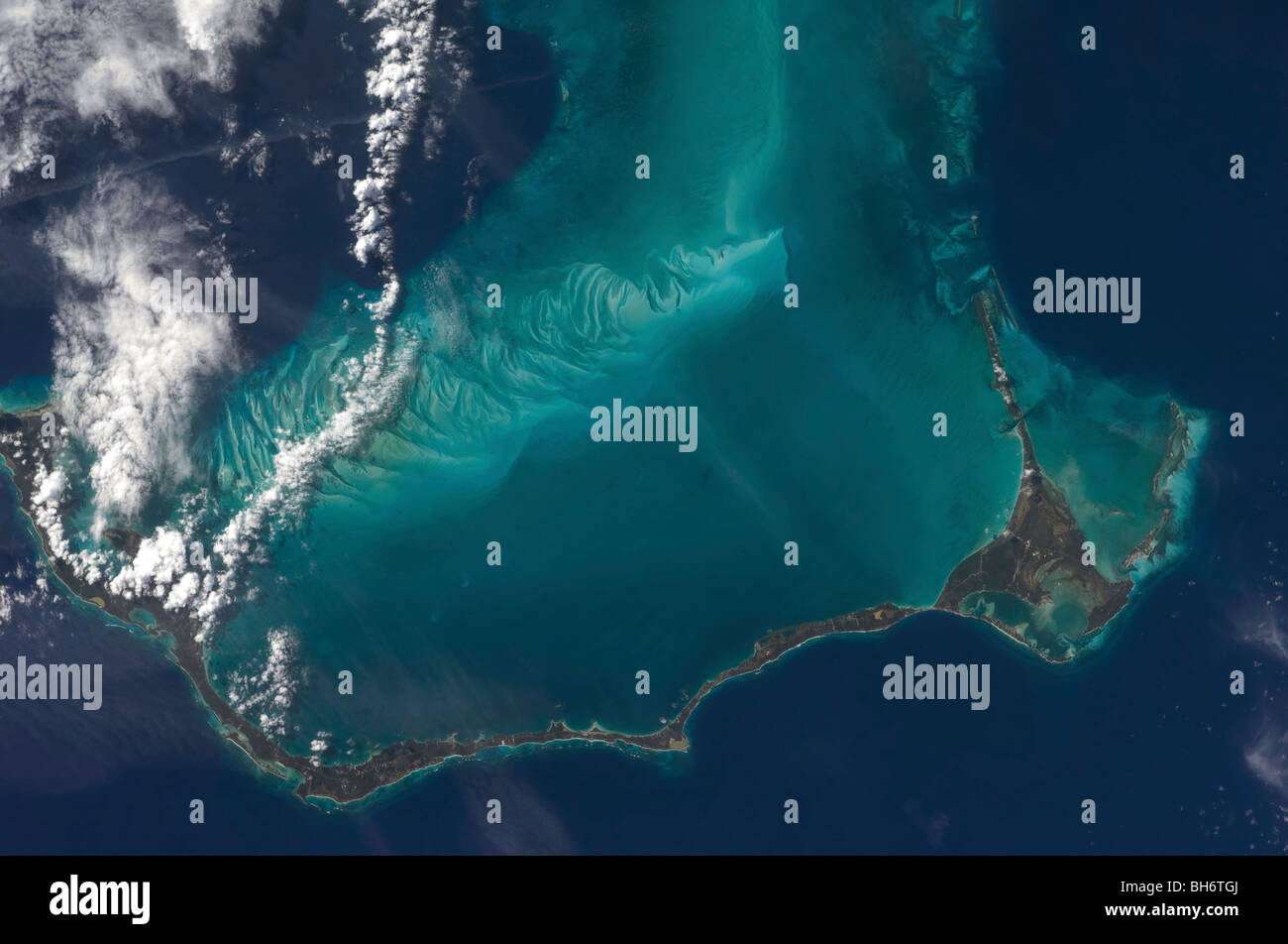 The Bahamas' lengthy narrow Eleuthra Island. - Stock Image