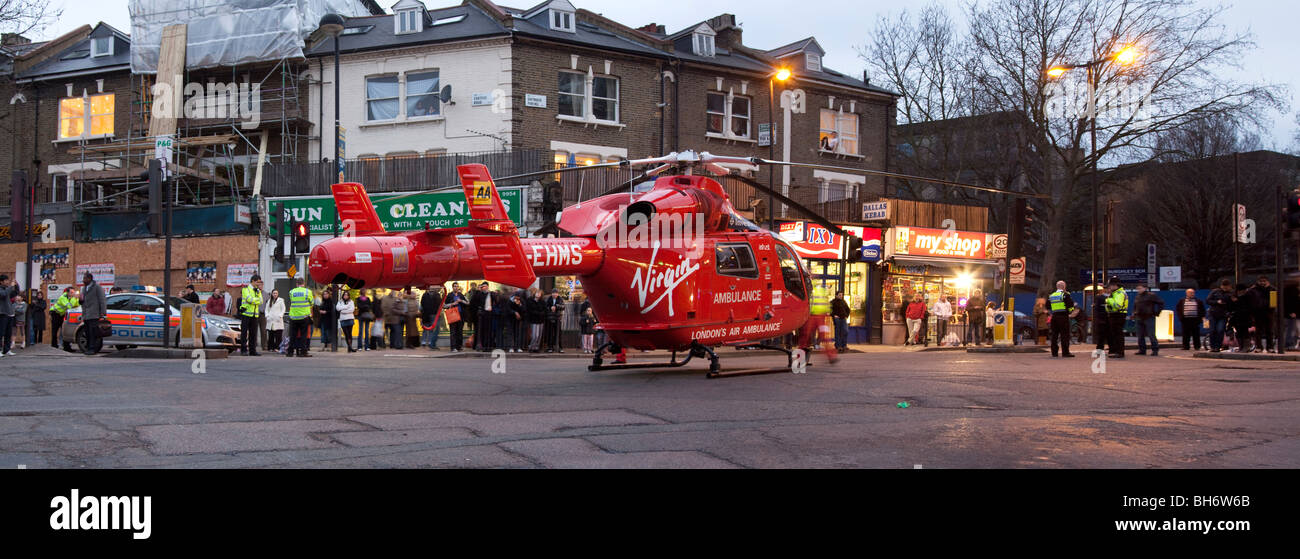 London Air Ambulance - Helicopter Emergency Medical Service (HEMS) - Tufnell Park - London - Stock Image