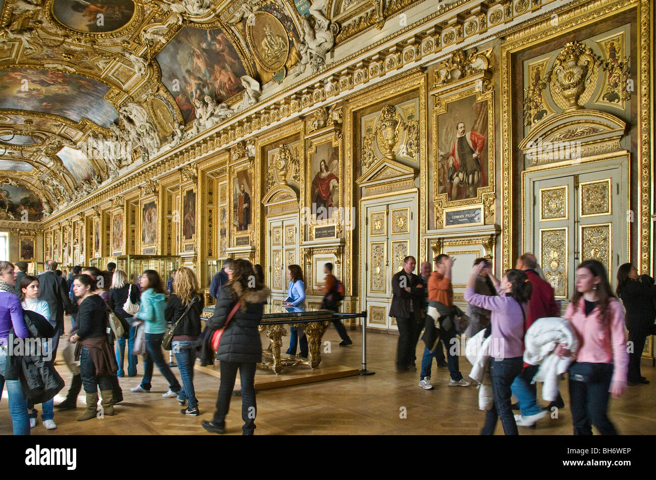 Gallery Apollon Louvre Museum Paris France - Stock Image