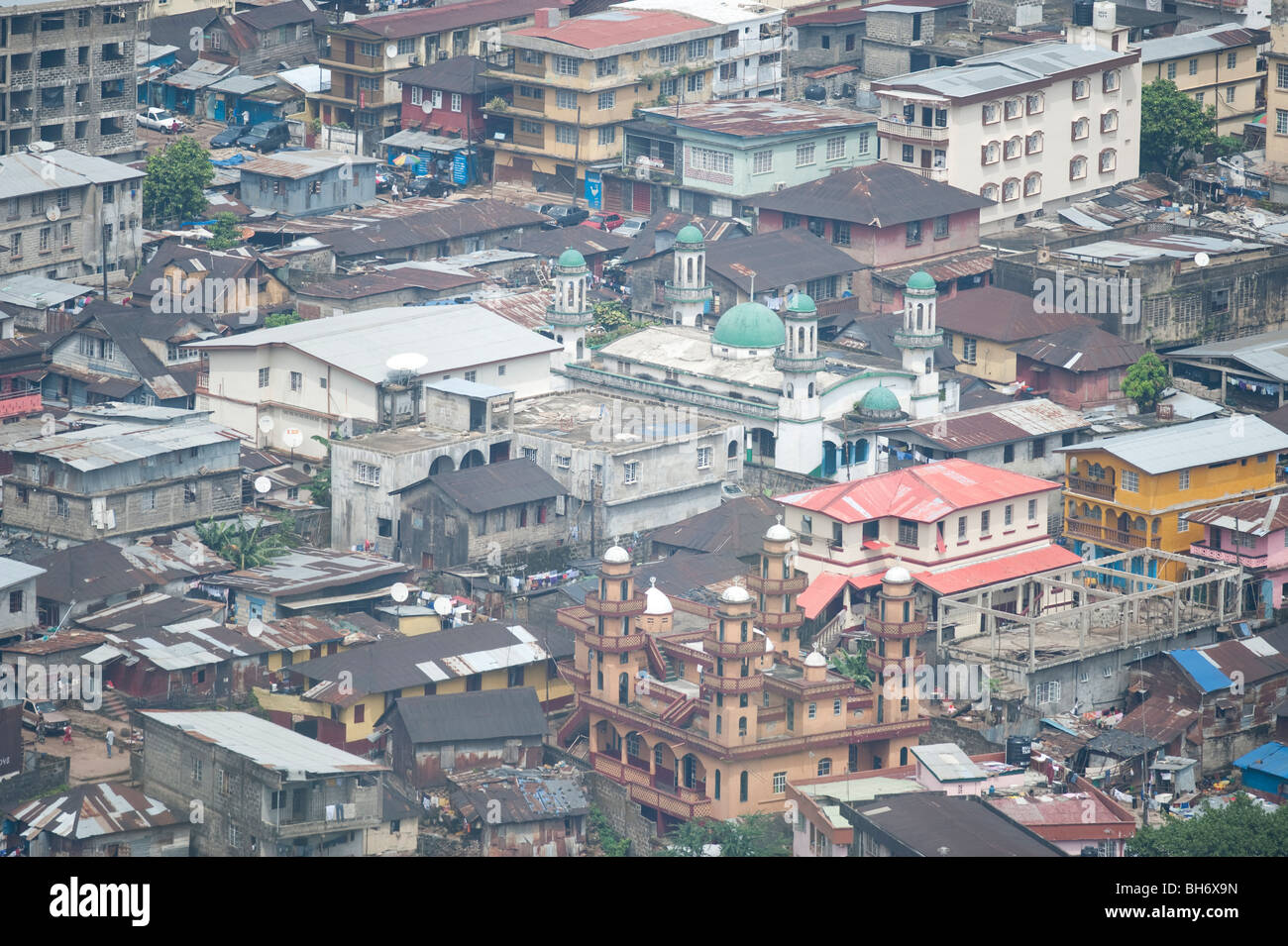 View of downtown Sierra Leone from Mount Aureol - Stock Image