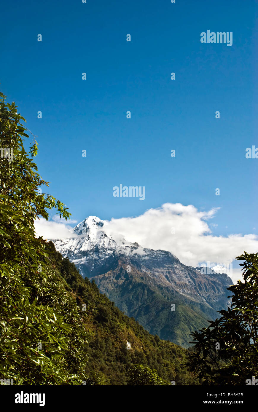 Snow Mountains Landscapes under blue sky and white clouds of Himalayas NepalLandscapes - Stock Image