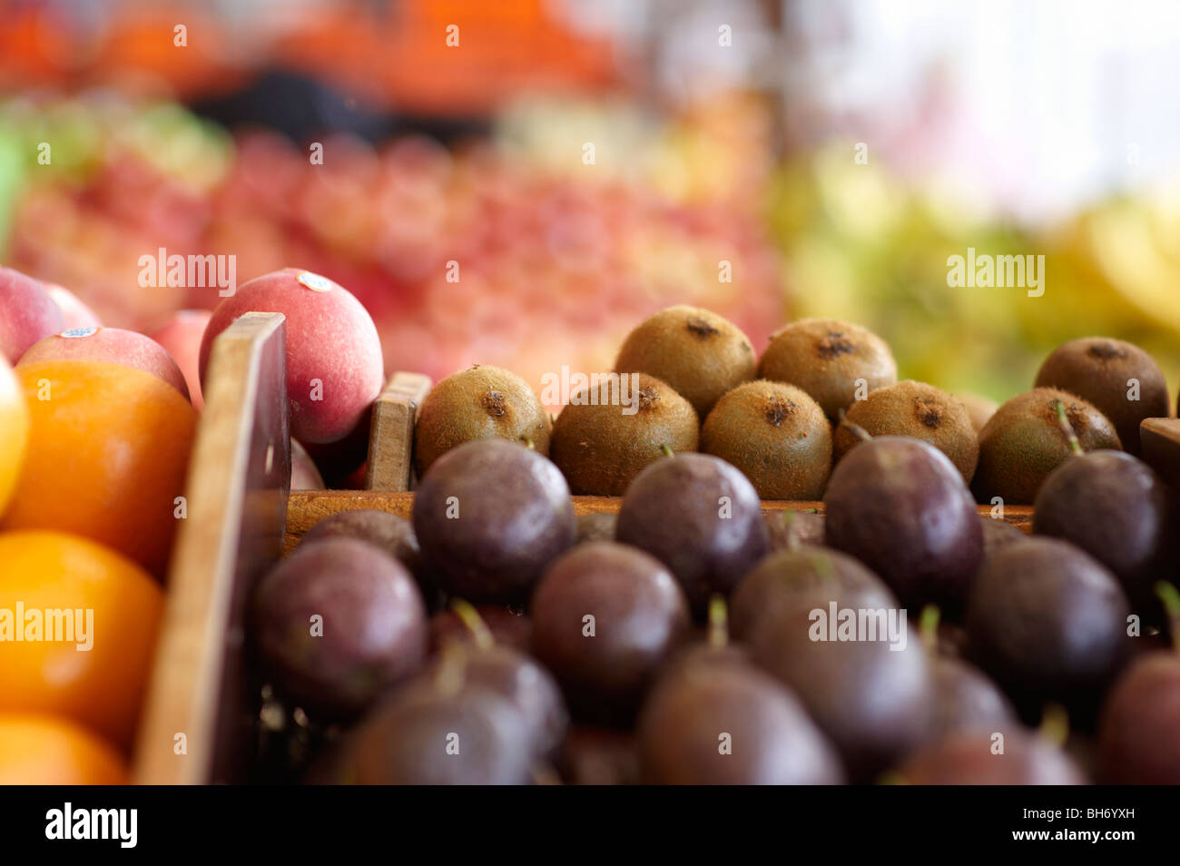 Fresh fruit for sale at greengrocer's shop Stock Photo