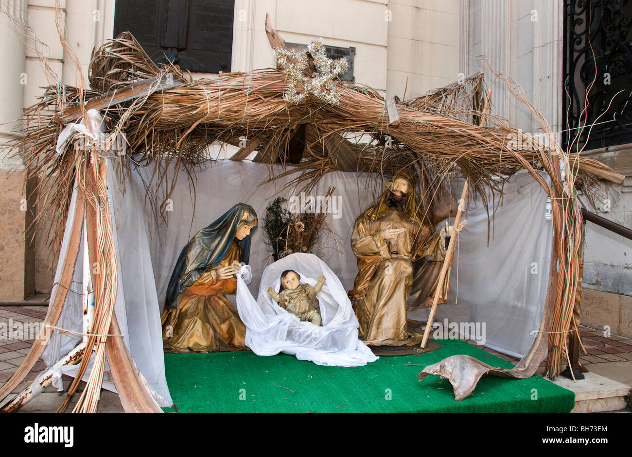 Christmas Xmas crib Buenos Aires the Cabildo former government house Plaza de Mayo Argentina - Stock Image