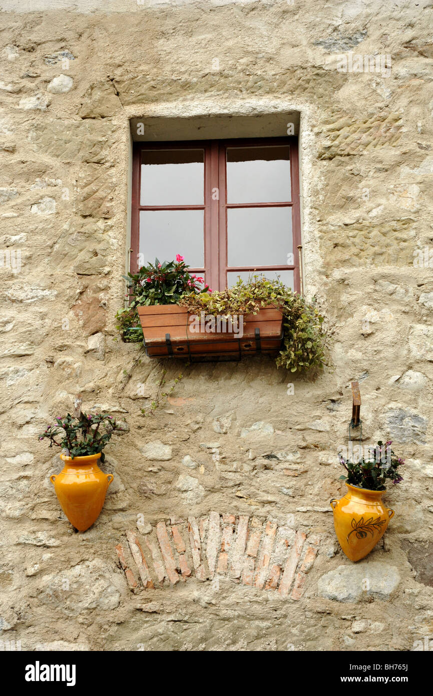 Yvoire village window on the Lake Geneva, in the Haute Savoie, Rhone Alpes region of France. - Stock Image