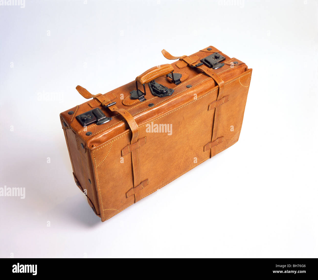 A suitcase made of leather Stock Photo