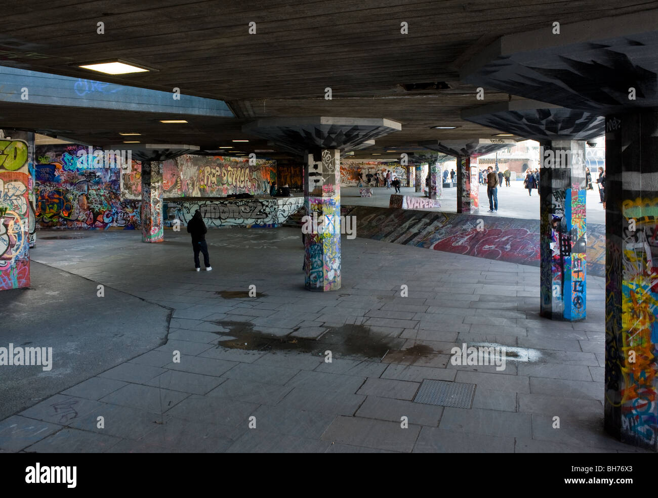 Graffiti covering the walls of the under-croft skateboarding area of the South Bank.  Photo by Gordon Scammell - Stock Image