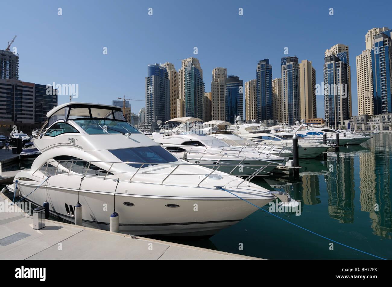 Luxury Yachts at Dubai Marina. Dubai United Arab Emirates - Stock Image