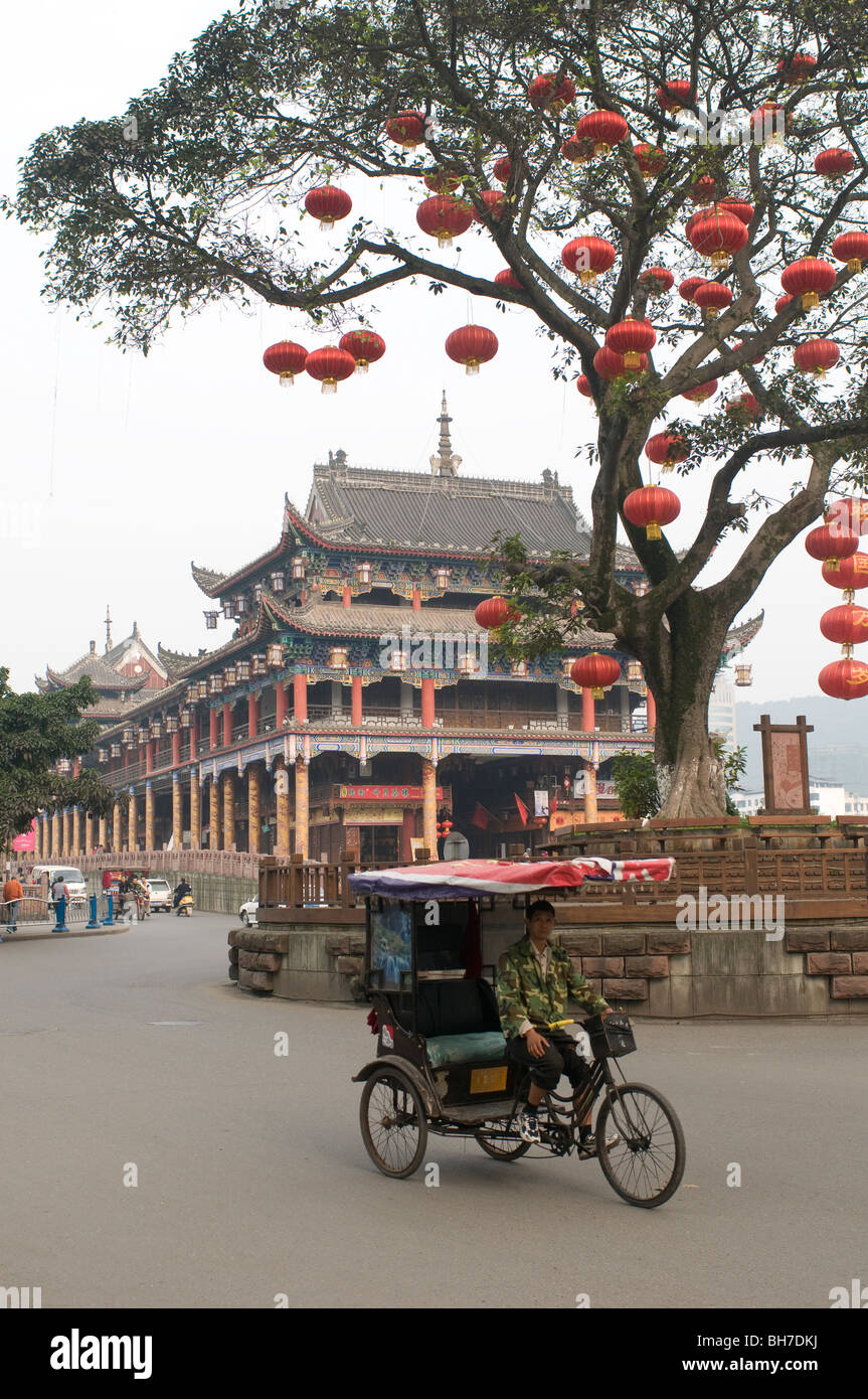 Lang Covered Bridge over the Qing Yi River in Ya An Sichuan Province China - Stock Image