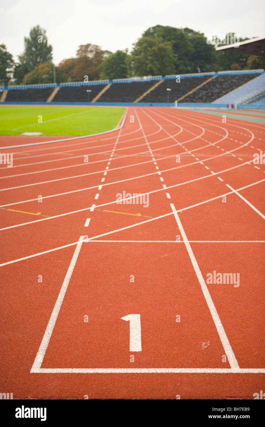 Olympics, London 2012, running, track, lanes, athletics, sports, ground, 1, number, first, race, action, speed, - Stock Image