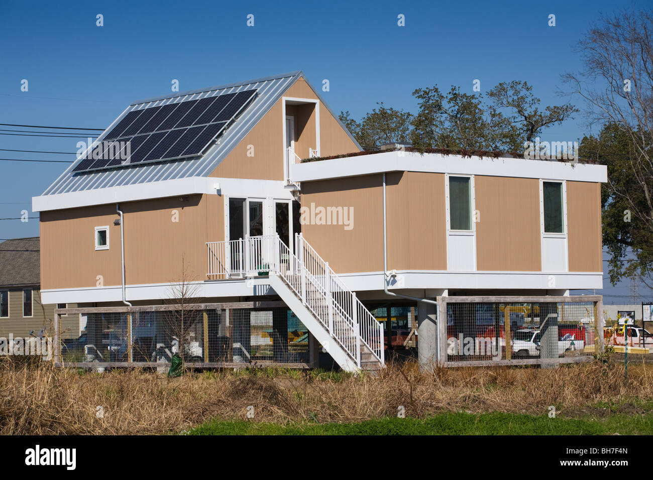 Solar homes on stilts being built by brad pitt make it for Make it right foundation