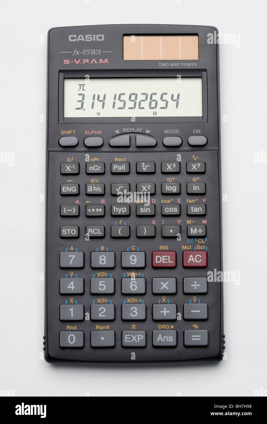 calculator on a white background displaying pi pi tt value of pi