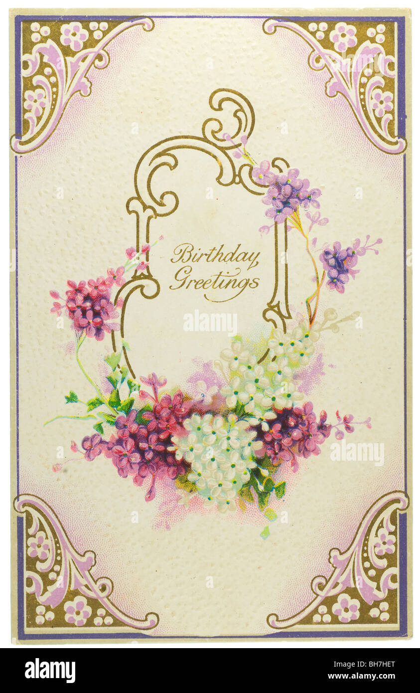 Vintage Birthday Greetings Postcard With Lilacs Stock Photo