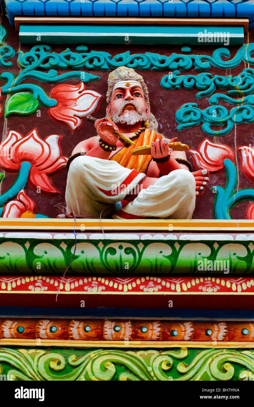 Brightly-painted Statue, Thanjavur Palace, Thanjavur, Tamil Nadu State, South India - Stock Image
