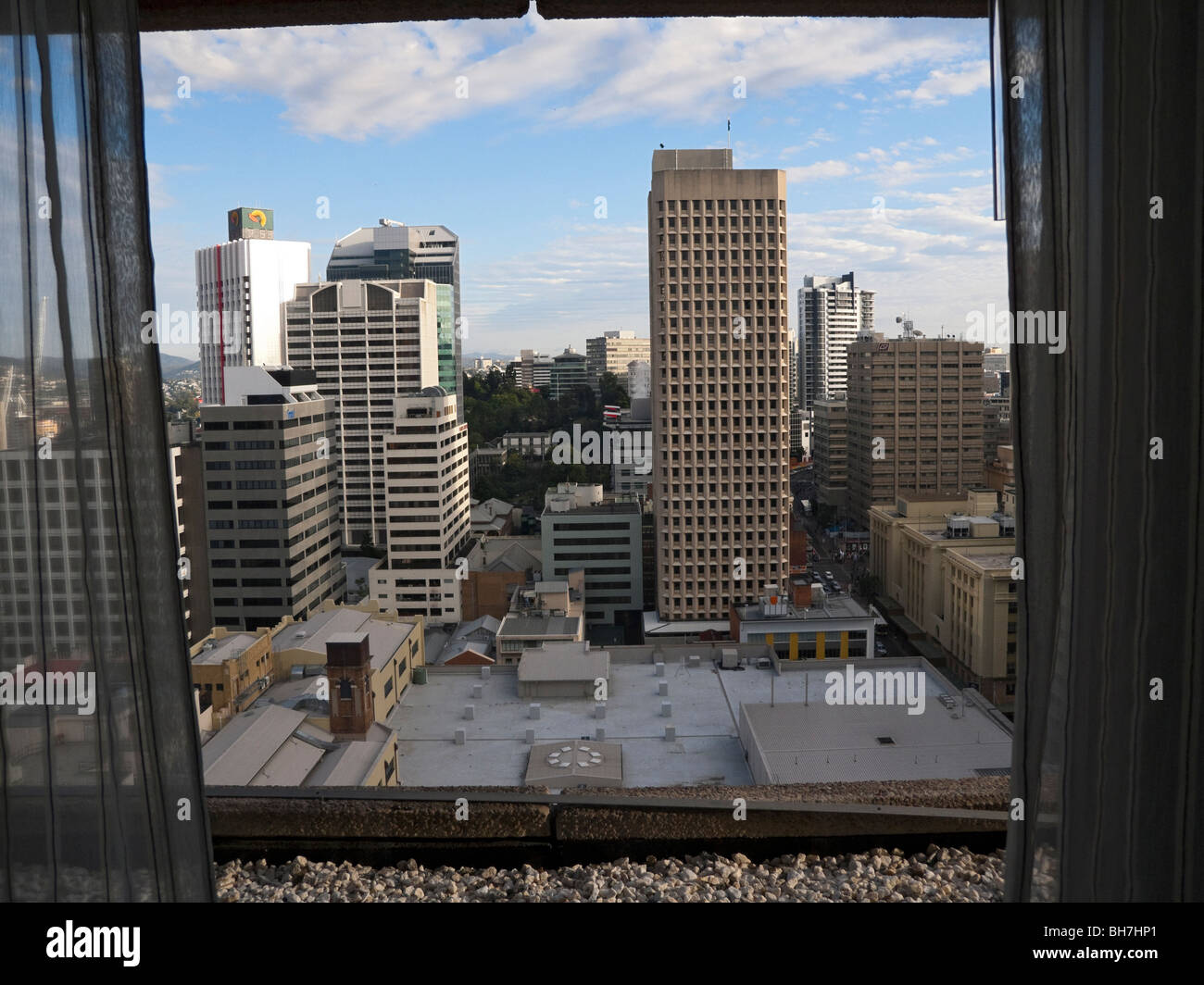 Brisbane Skyline from a Hotel Room in the Hilton on Elizabeth Street, Brisbane, Australia - Stock Image