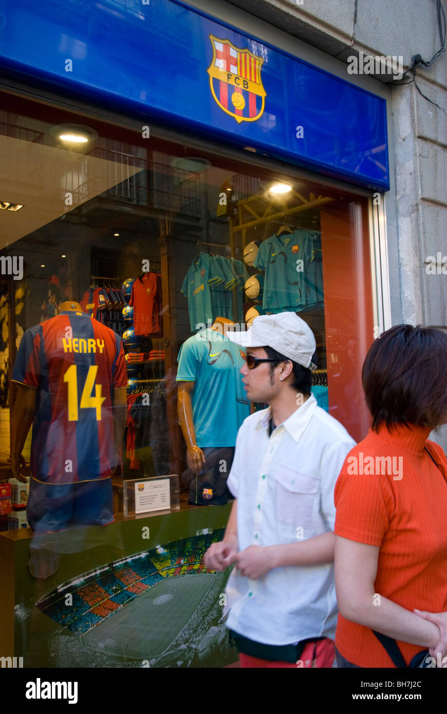 F. C.B. Barcelona official store. Gothic quarter. Barcelona. Spain. - Stock Image