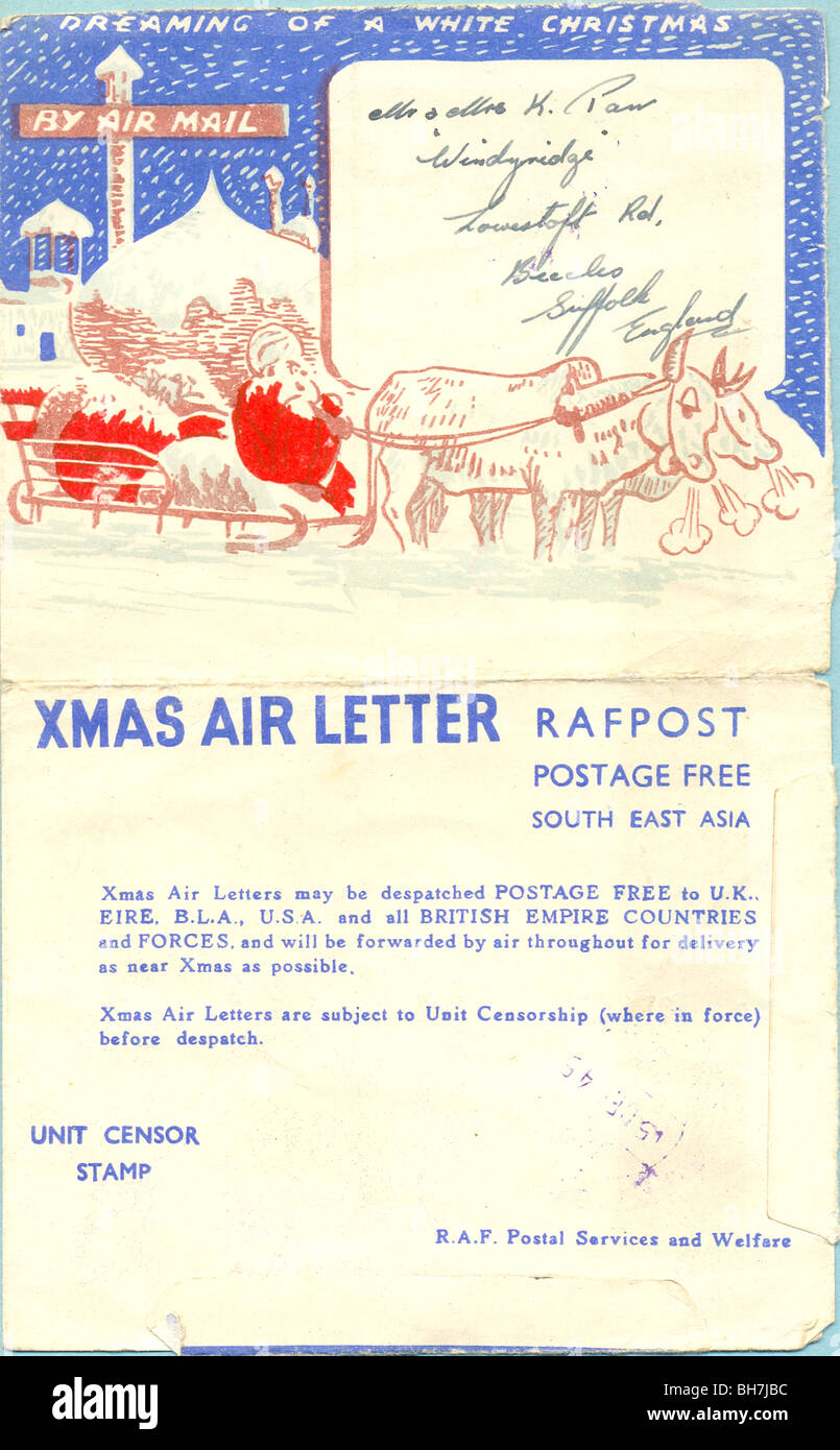 World War Two Christmas greeting air letter - Stock Image