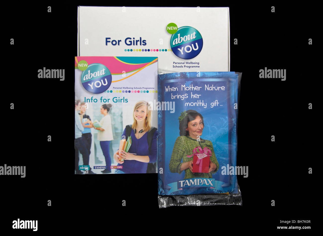 Items from a school information pack for teenage girls 'About You', (the Personal Wellbeing Schools Programme). - Stock Image