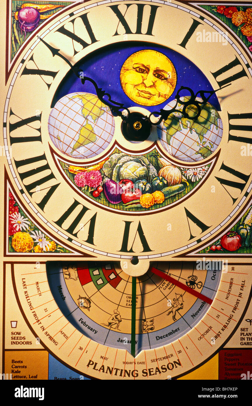 Seed planting clock - Stock Image