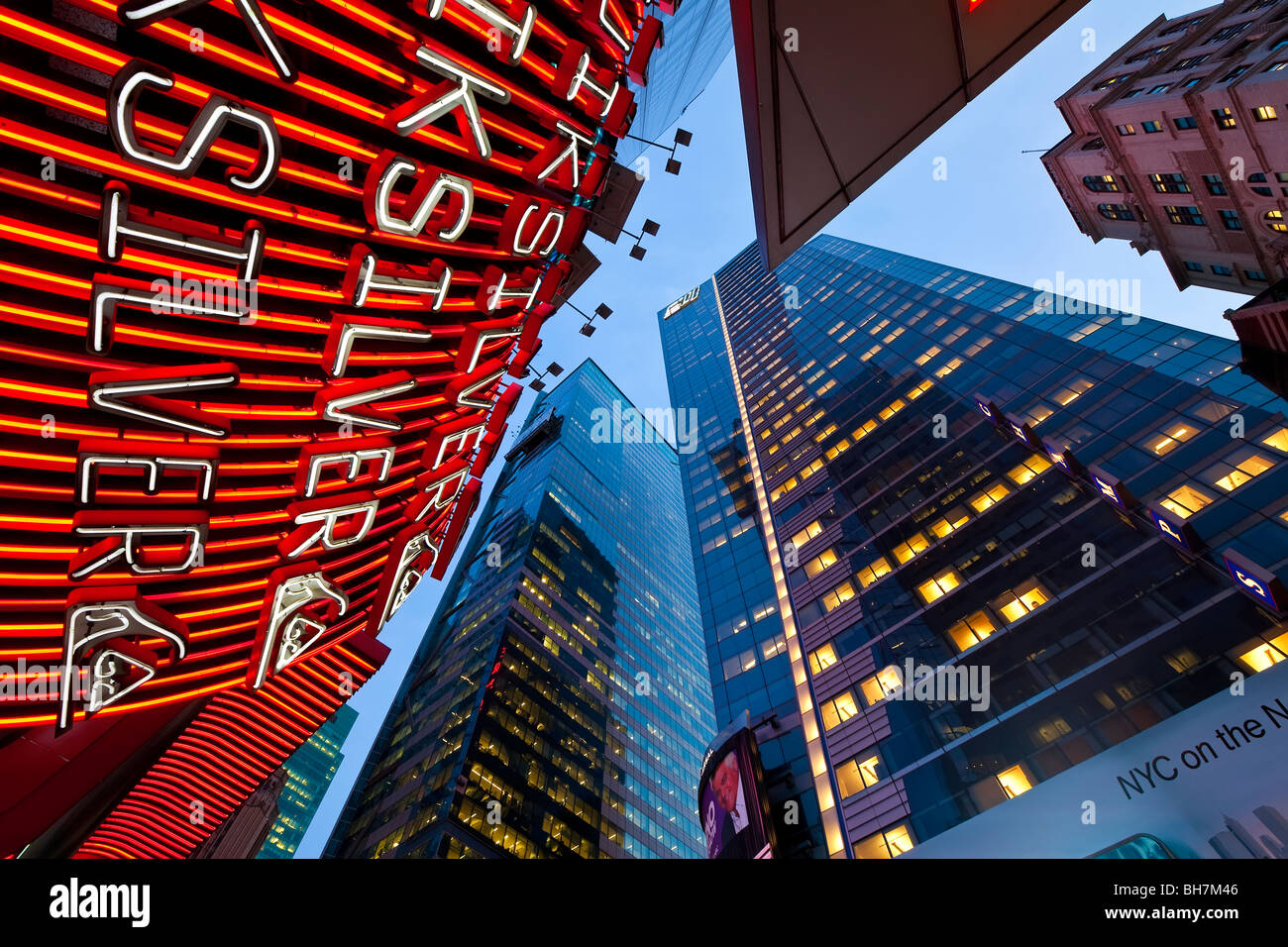USA, New York City, Manhattan, Times Square, Neon lights of 42nd Street - Stock Image
