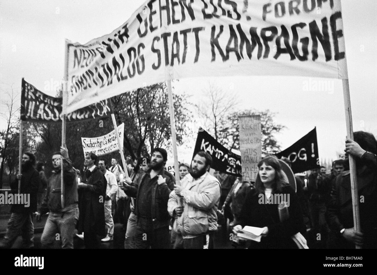 Monday protest in October 1989 in Schwerin, East Germany, Mecklenburg-Western Pomerania, Germany, Europe - Stock Image