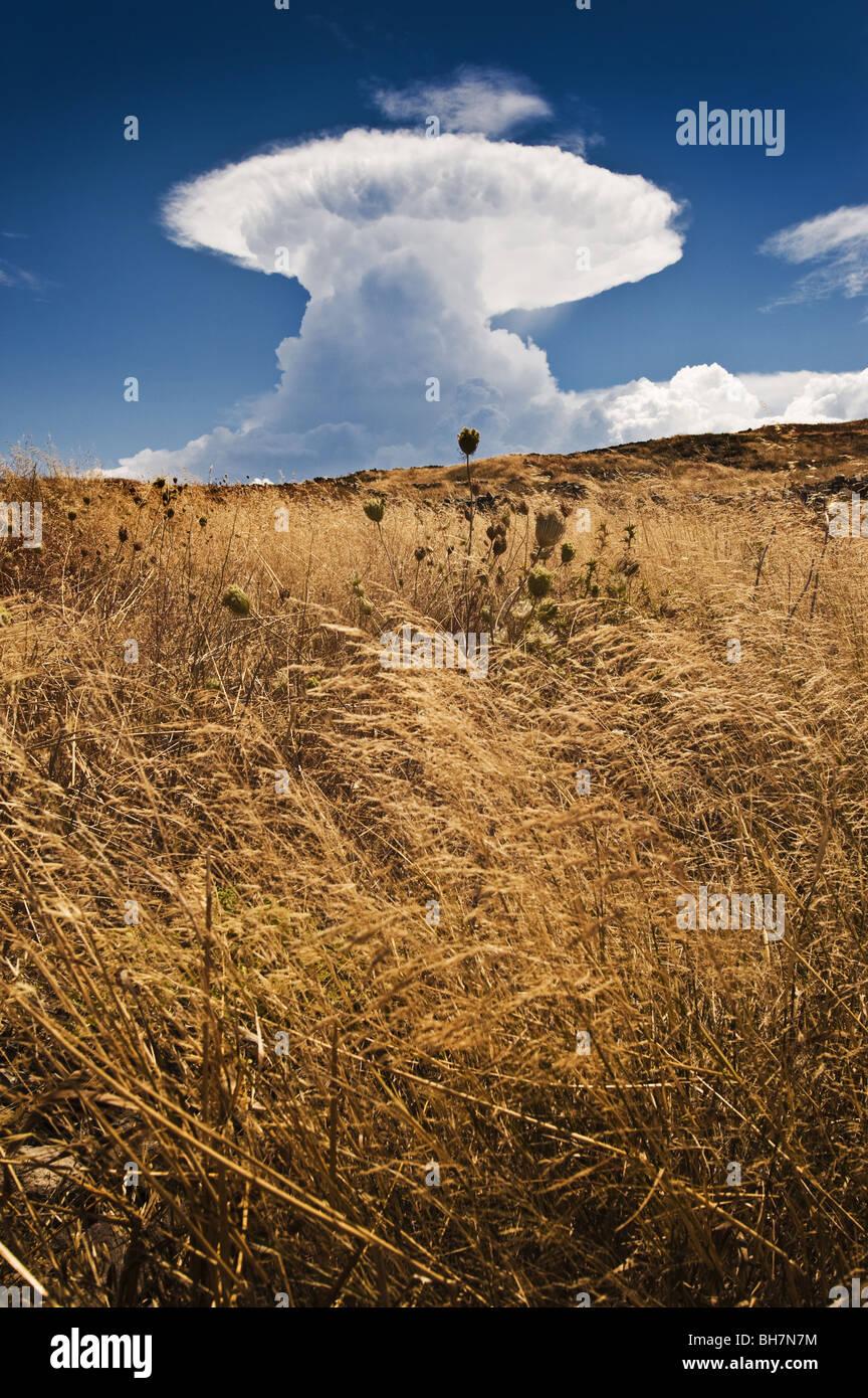 Nuclear-like mushroom pyrocumulus summer cloud, Delos, Greece. - Stock Image