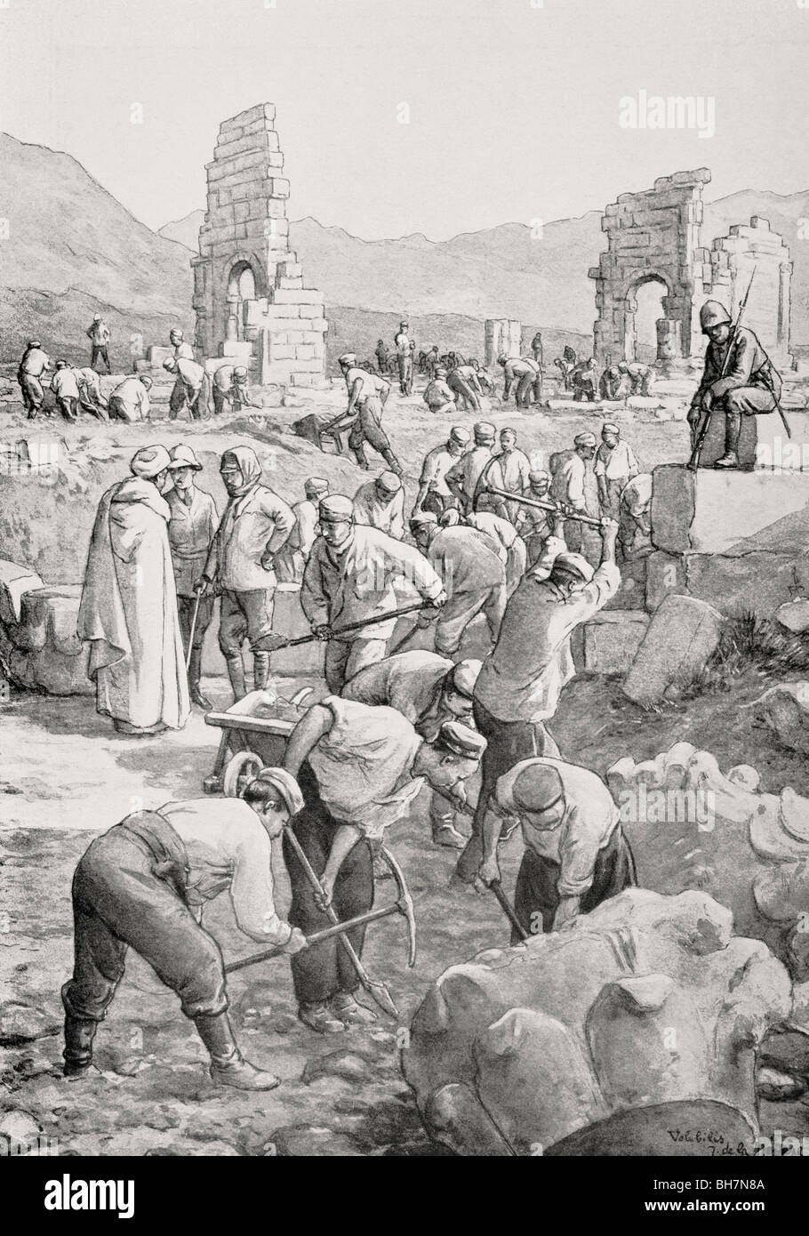 German prisoners of war at work excavating ruins of the Roman city of Volubilis, Morocco, during First World War. - Stock Image