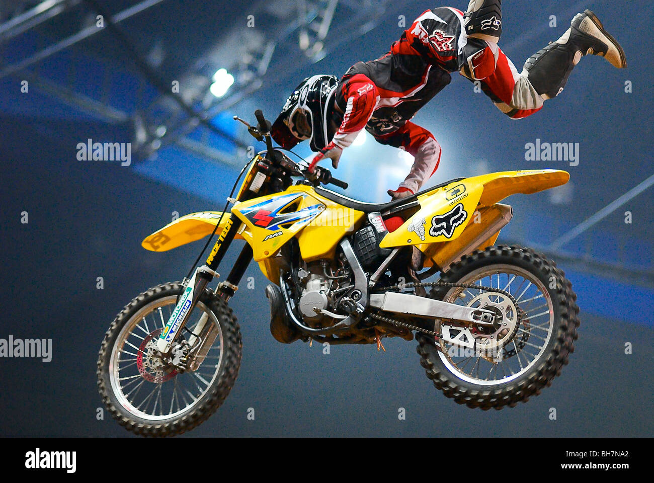 Freestyle Motorcycle Jumping. Fragment of motoshow - Stock Image