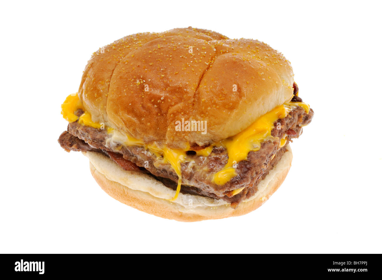 Wendy's bacon double cheeseburger in bun on white background cutout - Stock Image