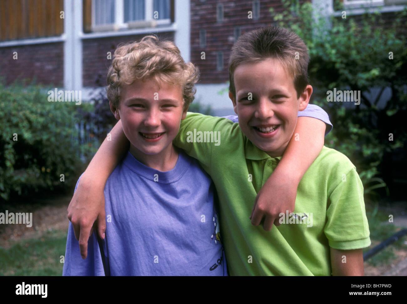 2 French boys, two French boys, French boys, French, boys, good friends, best friends, Verneuil-sur-Seine, France, - Stock Image