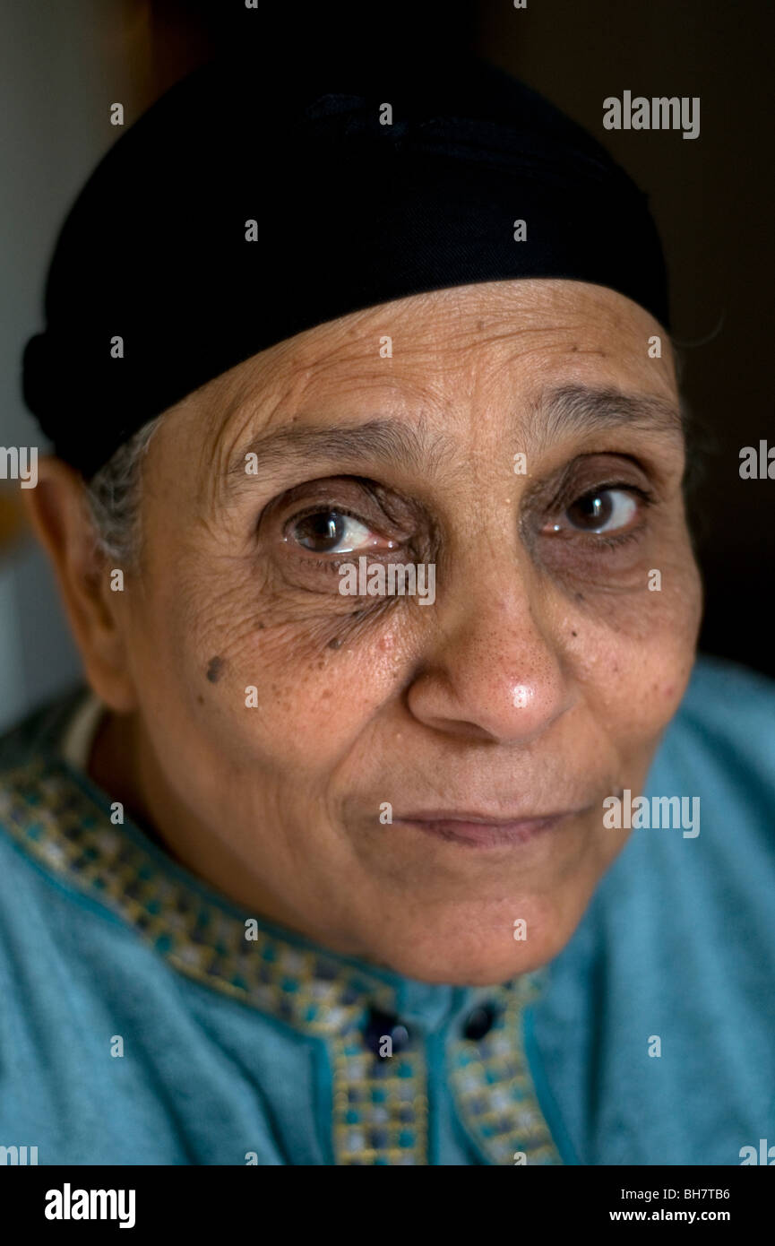 A portrait of a middle aged working class Arab Muslim Egyptian woman from Cairo, Egypt. - Stock Image