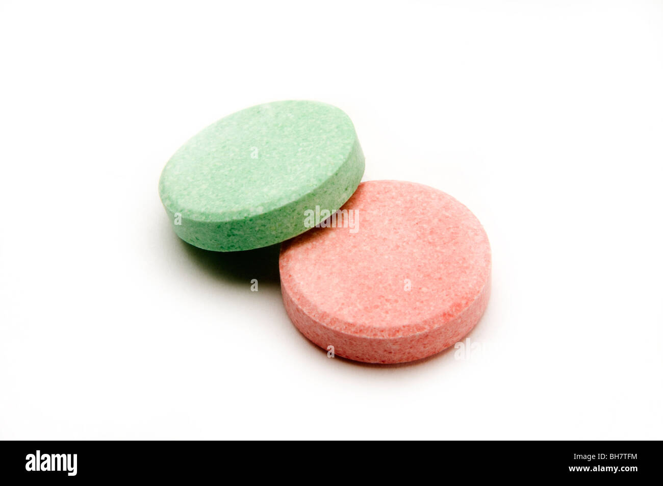 antacid tablets on white - Stock Image