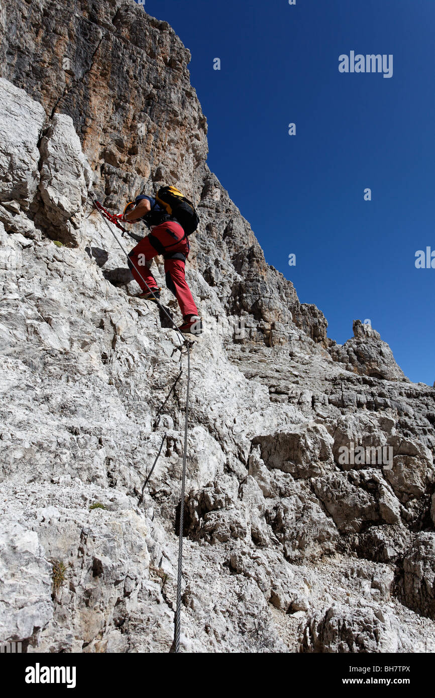 brenta via ferrata dolomite dolomiti mountaineering italy alps italian risk climbing mountaineering Bocchette Central Stock Photo
