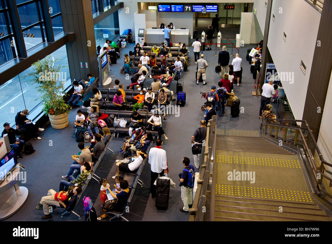 Boarding gate at NRT Narita Airport in Japan - Stock Image