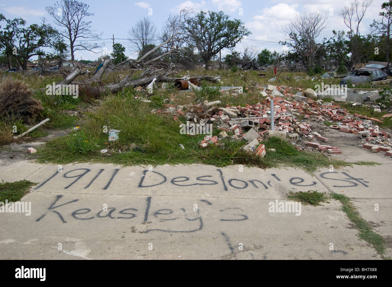The Keasley's must have lived here. 9 months after Hurricane Katrina, Lower Ninth Ward, New Orleans. - Stock Image