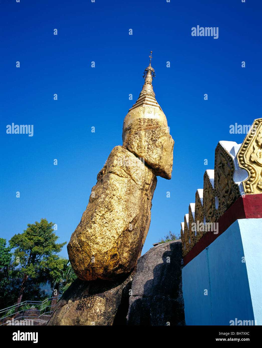 Nwa - La - Bo Pagoda also called little Kyaiktiyo  Golden Rock Myanmar Burma - Stock Image