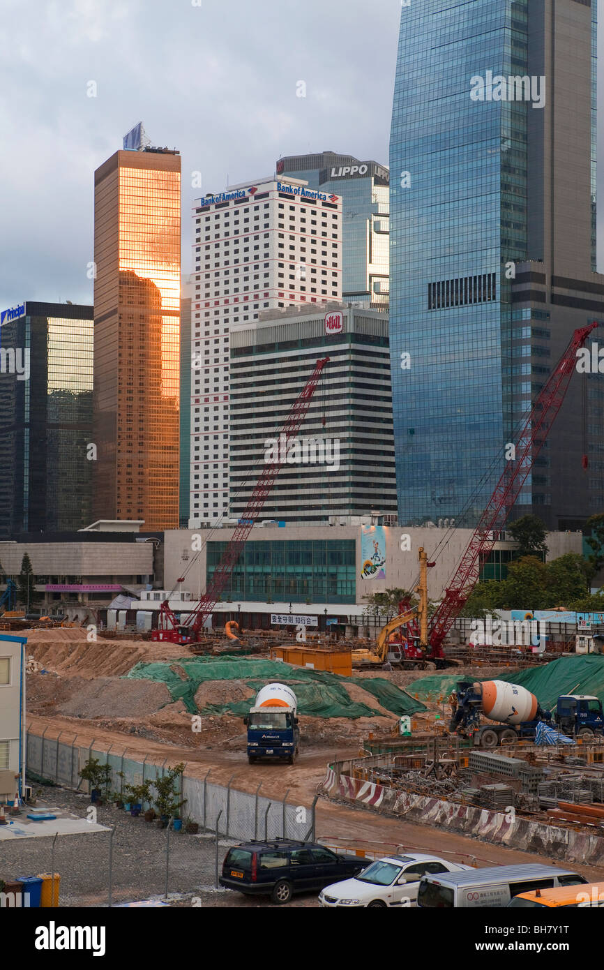 Major reclamation works in progress in Victoria Harbour with
