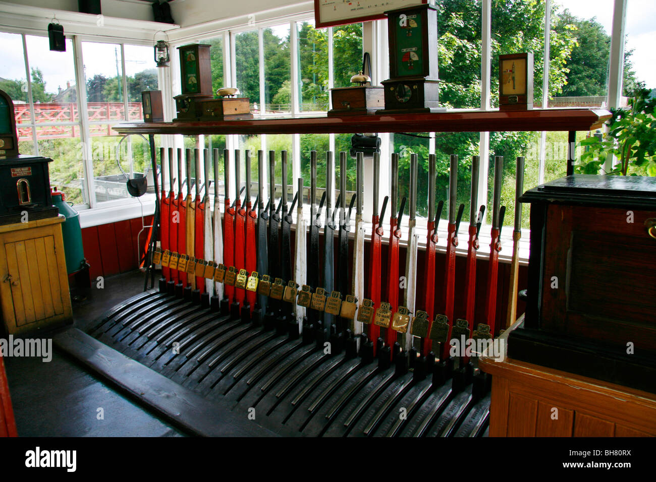 Signal box, showing all the levers which were used to change the points on the railway line.  Taken at Beamish in - Stock Image