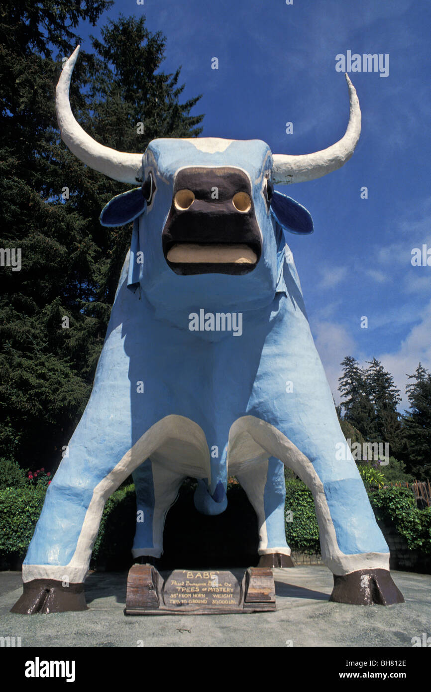 Babe the Blue Ox statue at Trees of Mystery, Klamath, California - Stock Image