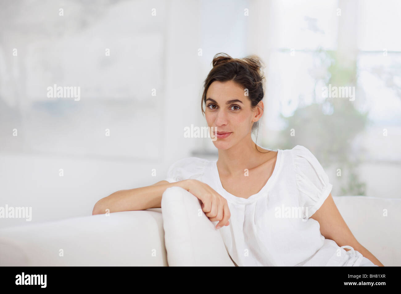 sophisticated woman relaxing Stock Photo