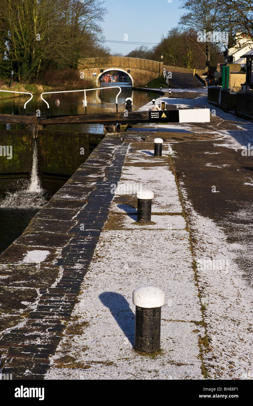 Grand Union canal side mooring posts along the towpath at Cowley Middlesex West London UK - Stock Image