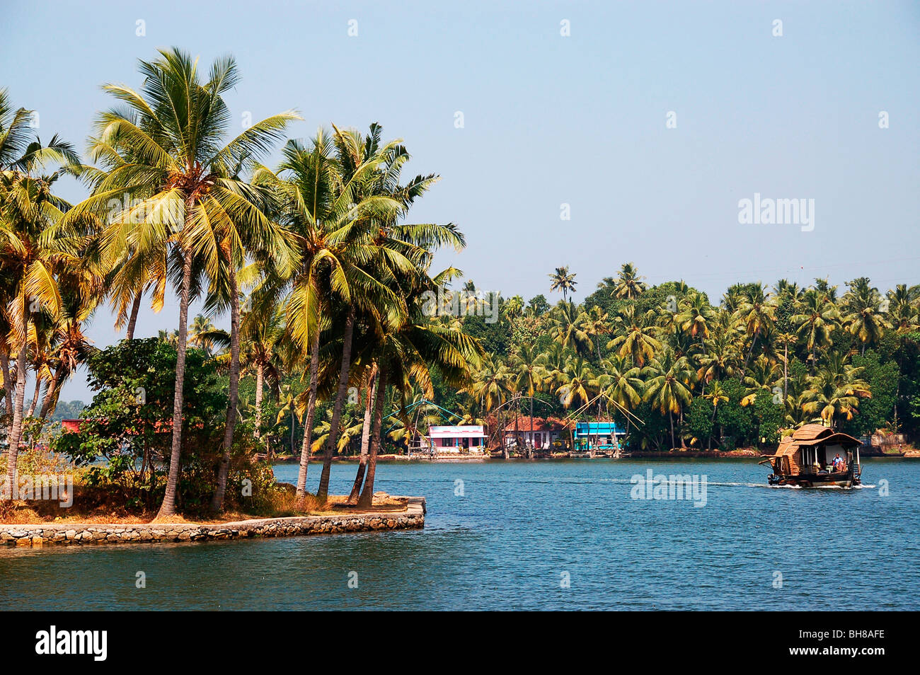 house boat, ashtamudi lake, kollam - Stock Image