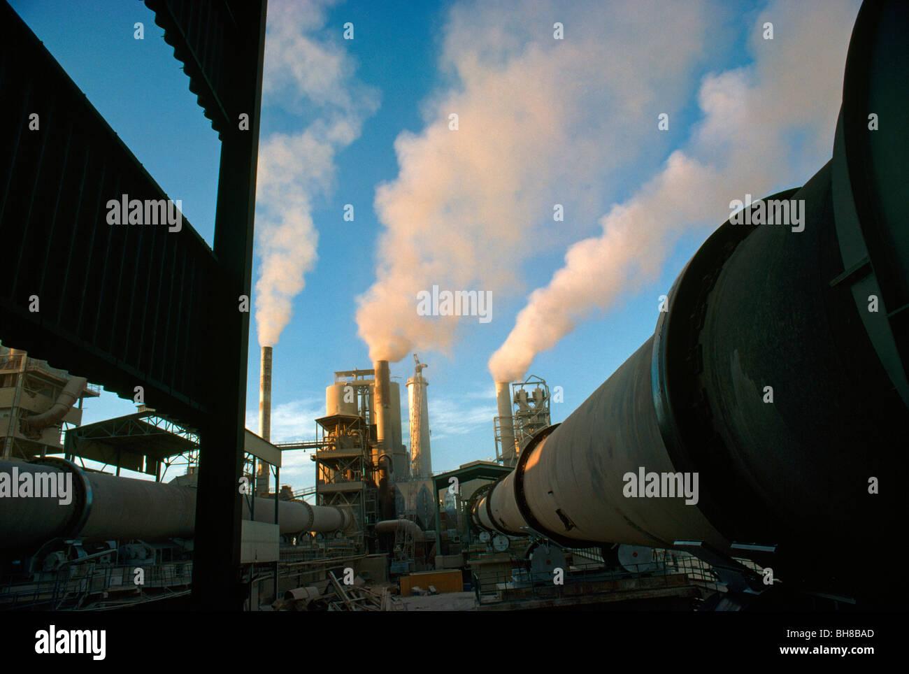 Jeddah Saudi Arabia Cement Factory Smoke Stacks Stock Photo