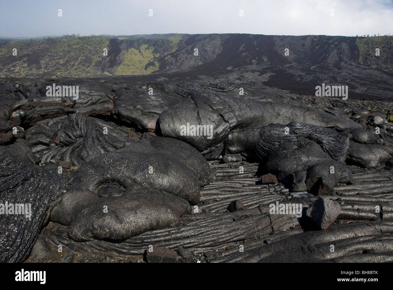 Pahoehoe Lava from Chain of Craters Road Hawaii Volcanoes National Park Hawaii USA - Stock Image