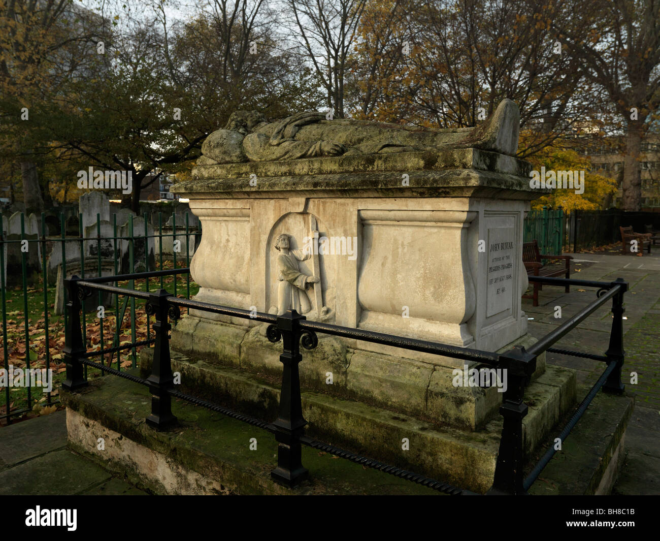 John Bunyans Grave Author of the Pilgrims Progress at the Bunhill Burial Ground City Road London - Stock Image
