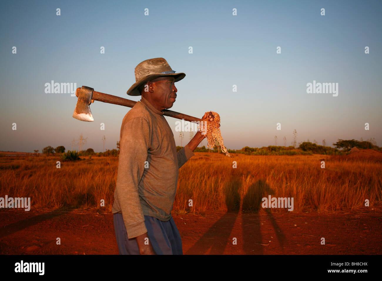 Angolan man walks through a field with an ax next to the Longa river near Jamba, Angola, July 2008. - Stock Image