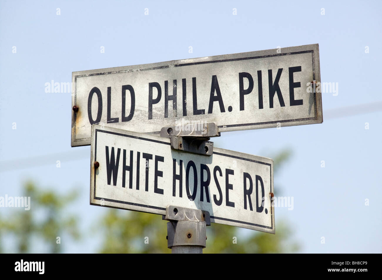 Old street sign in Lancaster County Old Phila Pike and White Horse Road, Pennsylvania - Stock Image