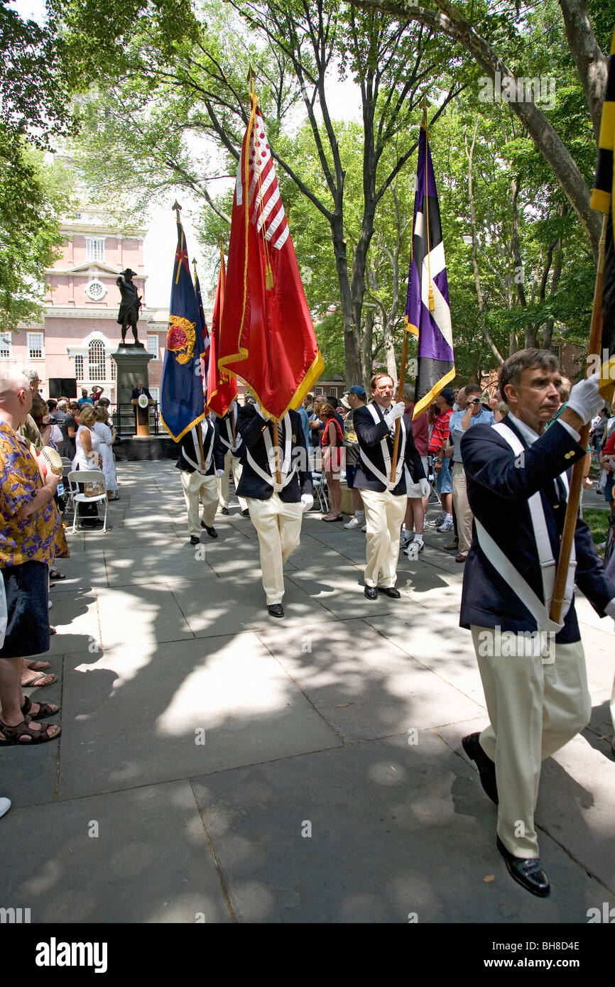 July 4 ceremonies and marching of flags in front of Independence Hall, Philadelphia, PA - Stock Image