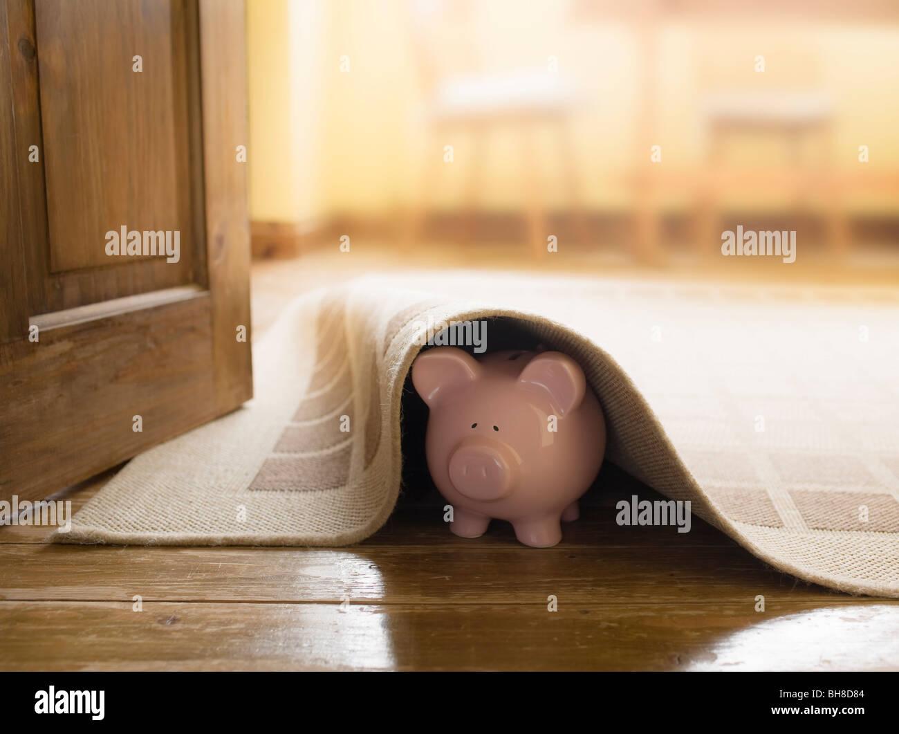 Piggy bank under rug - Stock Image