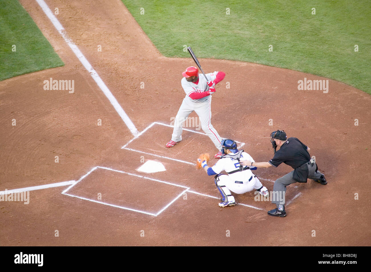 Philadelphia Phillies Ryan Howard, #6, left hand batter and National League Home Run and RBI Champion, Dodger Stadium - Stock Image